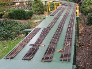Lay out for the rails on the straight away